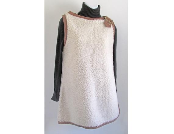 "1960s Rare designer Sheepskin style ""Serf"" smock /"