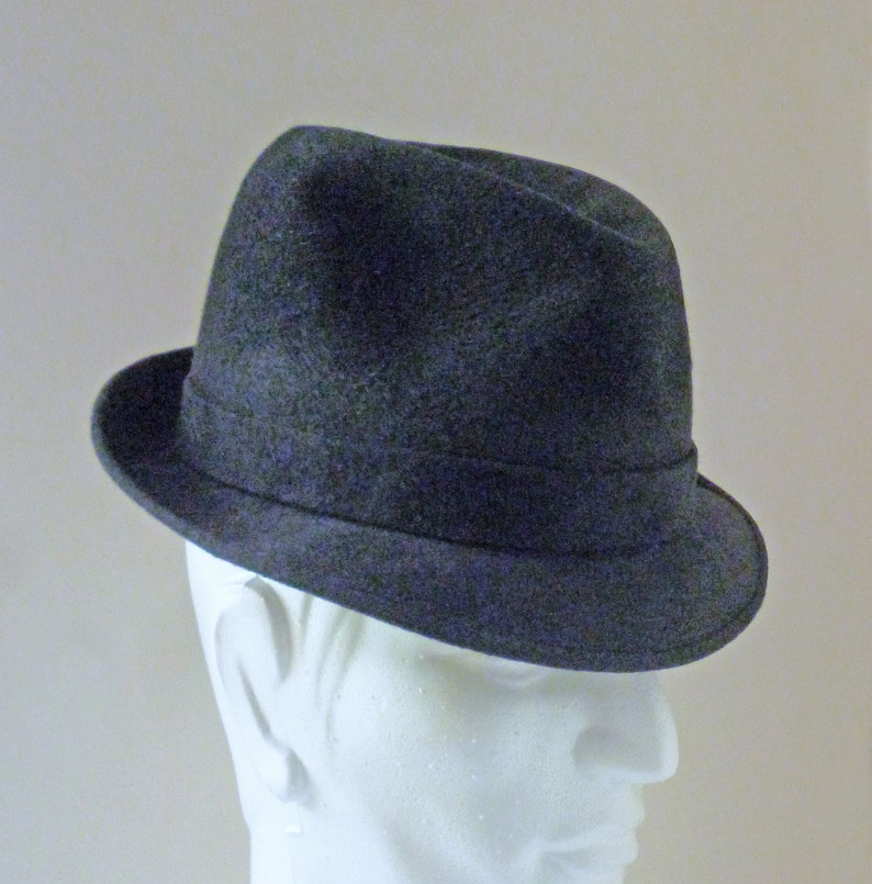 REDUCED 1960s Black Mobster Italian Kashmir Fedora Pork Pie  bd6eb40c1b6