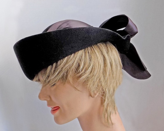 Rare 1930s black slouch hat with wide ribbon and … - image 3