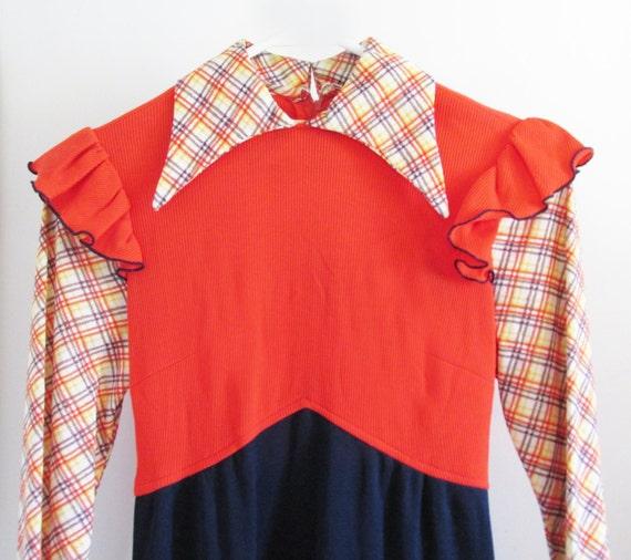 1970s Praire Maxi Dress with Faux plaid shirt, Ruf