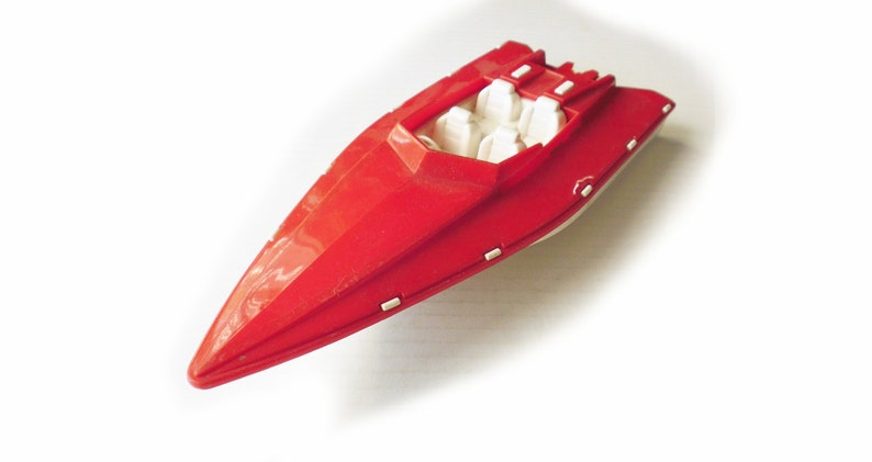 1950s-60s Toy Racing Boat by Bergman MFG Co  / USA / Plastic Toy Boat /  Atomic / rare / motor boat