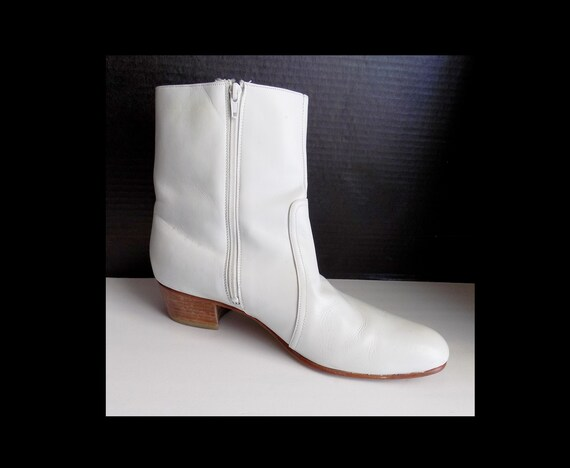 1960s-70s men's white leather boots / Ankle boots