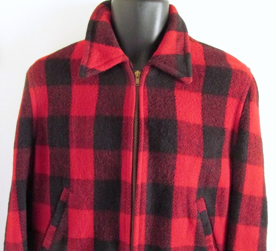 1940s-50s red plaid wool bomber jacket - image 2