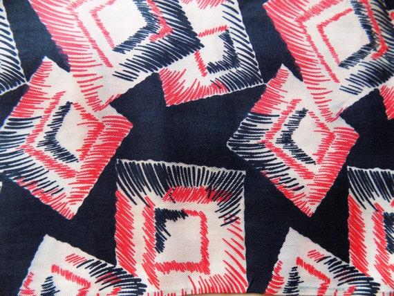 1930s Vintage Art Deco scarf / art / cubism