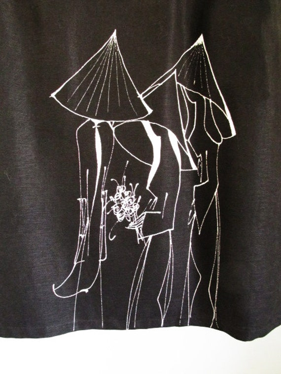 Hand painted women on Vintage Black Cotton skirt