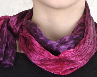 Raspberry Red/ Royal Purple Hand Dyed Silk Scarf