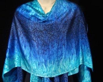 Cobalt Blue/Turquoise Hand Dyed Silk Satin Wrap