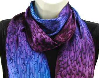 Royal Purple/ Cobalt Blue  Long Skinny Silk Scarf Gift for Best Friend