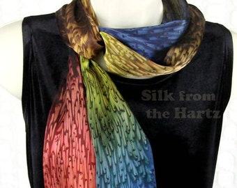 Earth Tone Long Narrow Silk Scarf