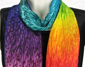 Rainbow Hand Dyed Silk Scarf for Her