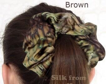 Cool Brown Silk Scrunchie