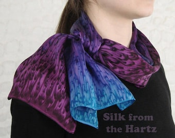 Purple and Blue Individually Hand Dyed Silk Scarf