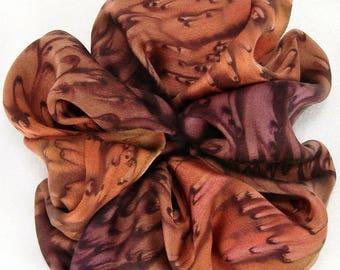 Red/brown Hand Dyed Silk Satin Scrunchie