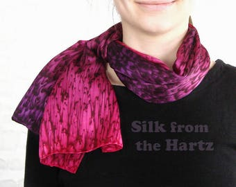 Raspberry Red and Royal Purple Hand Dyed Silk Scarf