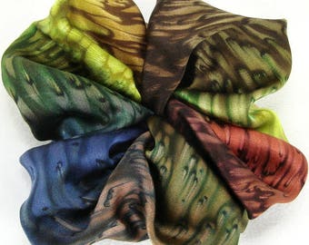 Multi Earth Tone Hand Dyed Silk Scrunchie