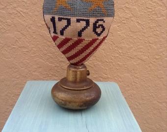 Primitive Patriotic Heart on vintage doorknob