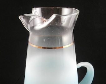 Vintage 50s Blendo Turquoise Aqua Glass Pitcher Mid Century Midcentury Party Entertaining MCM Gold