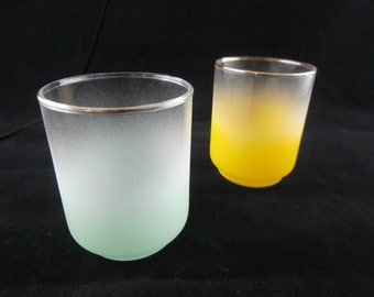 Vintage 50s Lot of 2 Blendo Turquoise Green Yellow Glass Juice Cups Mid Century Midcentury Party Entertaining MCM