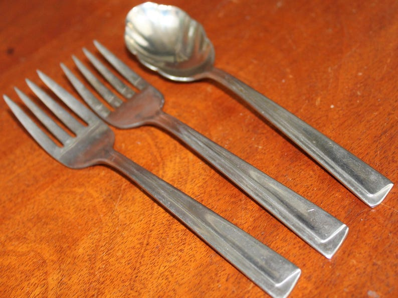 Stainless Silverware vintage flatware glossy discontinued cutlery replacements bin 66 VENTURE INSICO  by iNTERnATIONAL SILVER