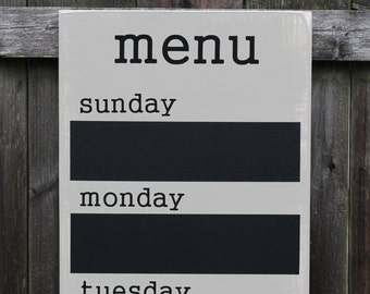 "Menu Board - Chalkboard - 12"" x 36"" Made To Order - Family Weekly Menu Planner"