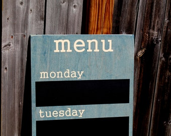 "Menu Board - Chalkboard - 12"" x 36"" Made To Order - Family Weekly Menu Plannner"