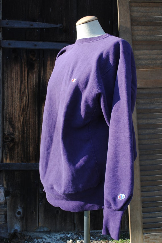 Thick Vintage Champion Sweatshirt Purple
