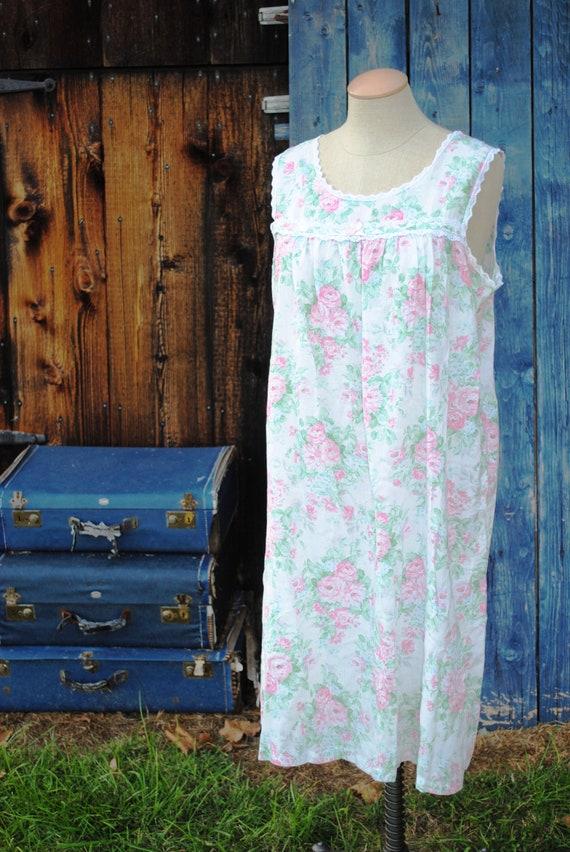 Vintage Floral Cotton Seersucker Slip Dress Nighty - image 2