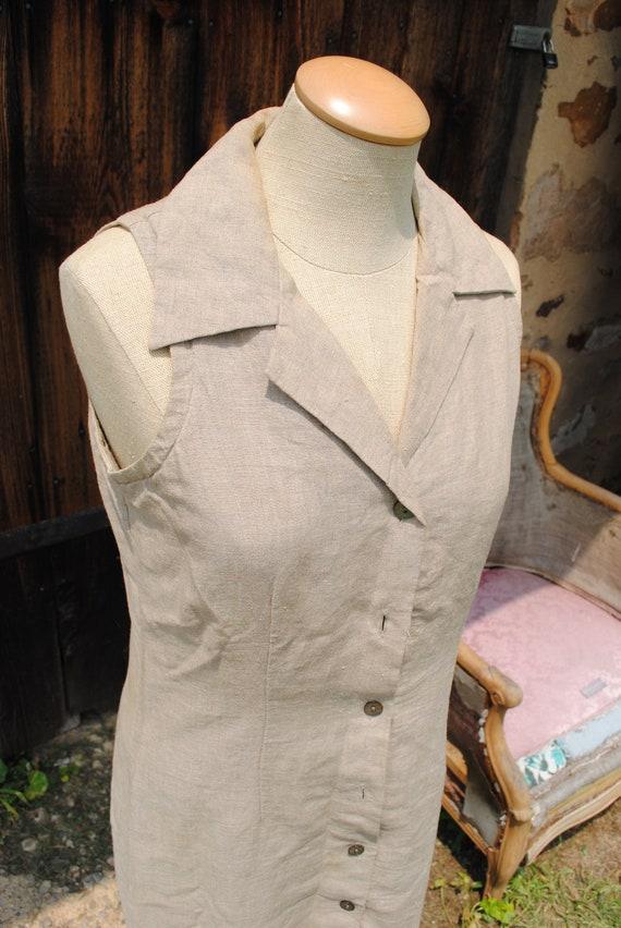 Vintage Beige Sleeveless Linen Safari Duster Dress