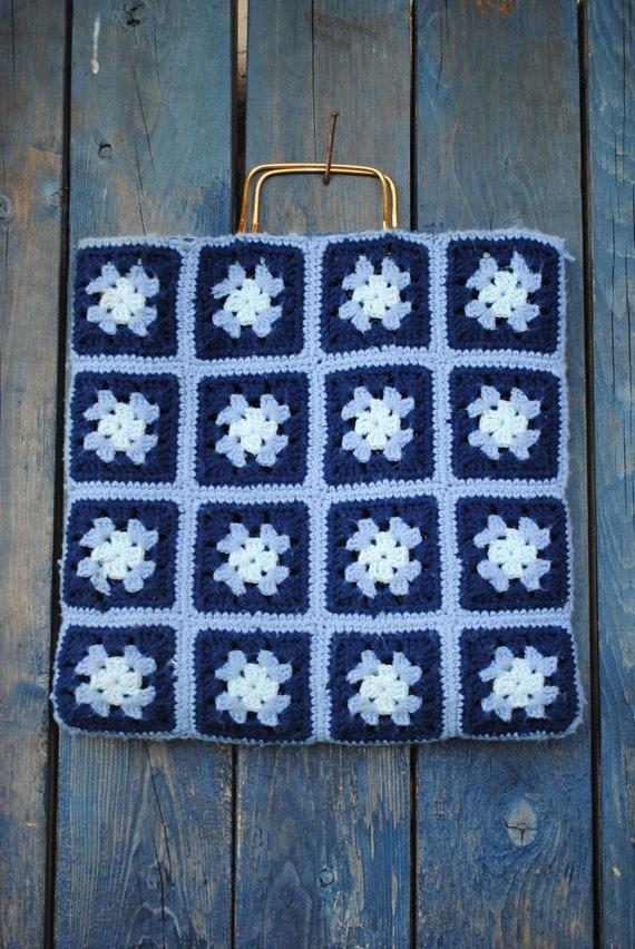 Vintage Granny Square Afghan Knit Tote - image 2