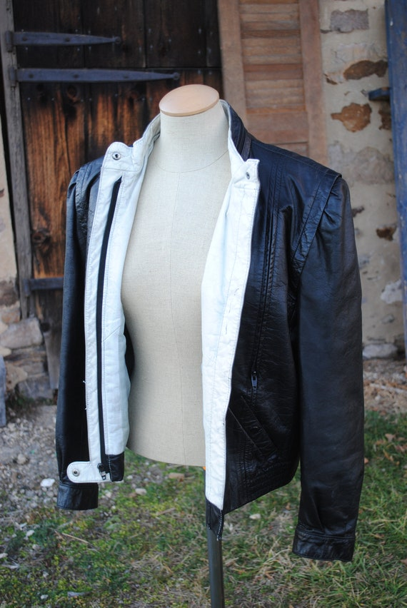 Vintage 80s Black and White Leather Motorcycle Jac