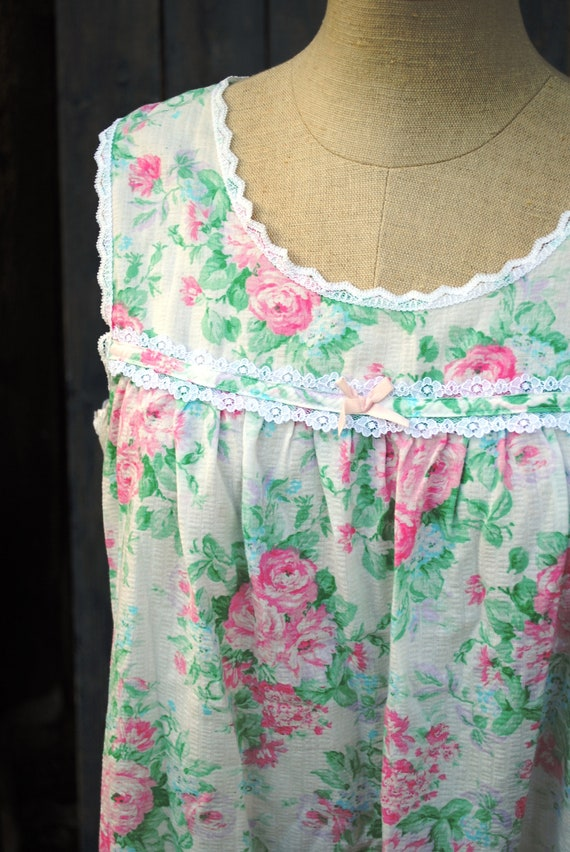 Vintage Floral Cotton Seersucker Slip Dress Nighty - image 1