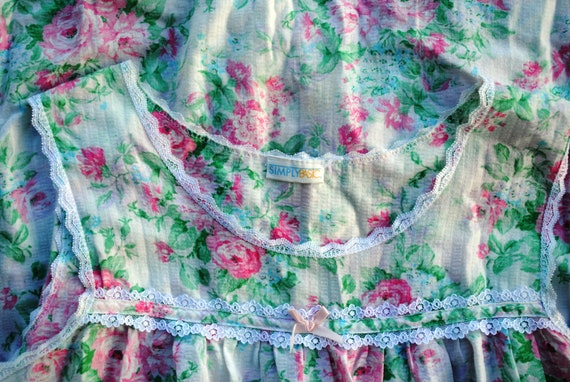 Vintage Floral Cotton Seersucker Slip Dress Nighty - image 4