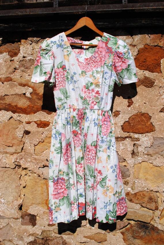 Vintage 80s Floral Prom Dress Garden Party