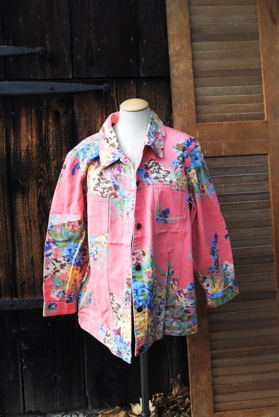 Customized Snarky Vintage Floral Denim Coat Large Jean Jacket