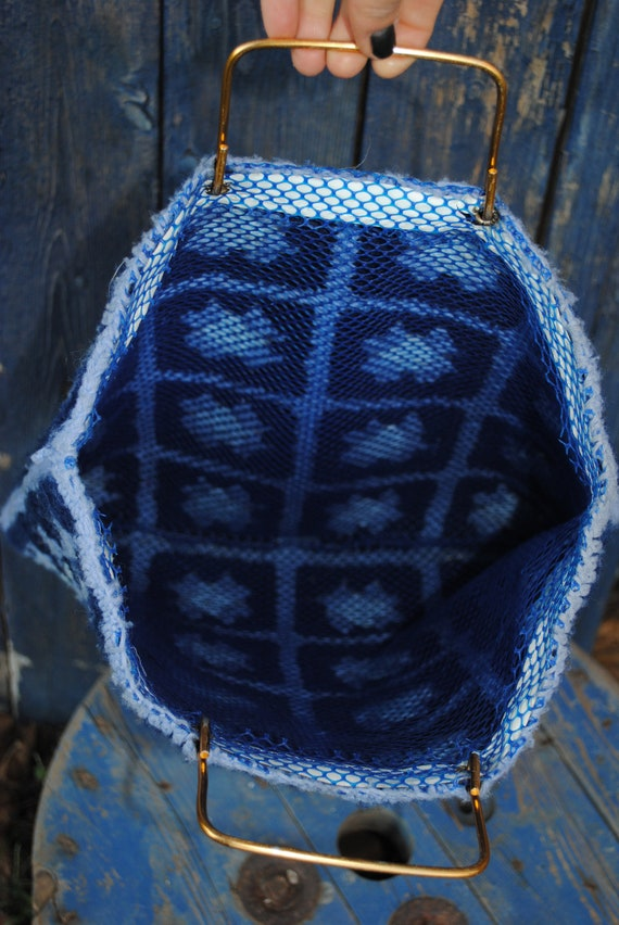 Vintage Granny Square Afghan Knit Tote - image 3