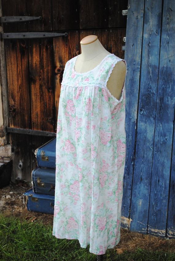 Vintage Floral Cotton Seersucker Slip Dress Nighty - image 3