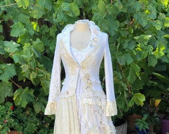 OOAK Fairytale Coat, shabby romantic lace doilies XS Small