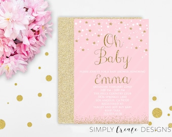 DIGITAL Oh Baby Invitation Sprinkle Baby Shower Invite 5x7 Jpeg Printable File