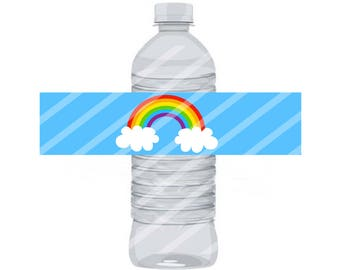 Rainbow Water Bottle Label 8.5x11 JPEG sheet Instant Download