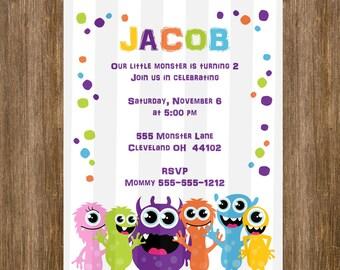 SALE Little Monster Birthday Invitation 5x7  DIGITAL file Monsters Theme