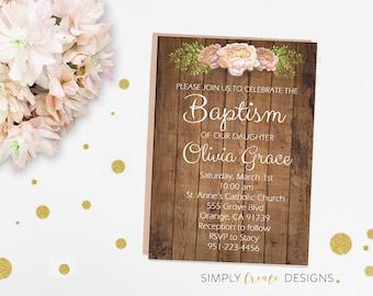 DIGITAL Baptism Invite, Baptism Invitation, Rustic Flower Invitation 5x7 Jpeg Printable File