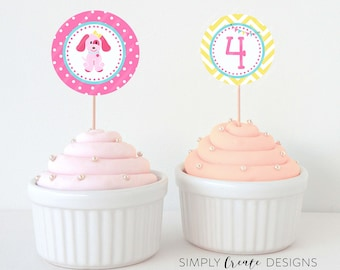SALE Puppy Cupcake Toppers Puppy Party Tags Digital File 8.5  x 11 JPEG File Personalized