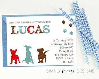 DIGITAL Puppy Birthday Invitation 5x7 Printable file Dinosaur Puppy Pawty Theme
