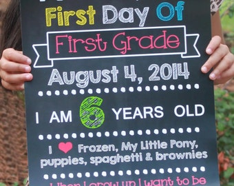 DIGITAL Chalkboard School Sign First Day of School Chalk Sign Boy Printable JPEG file