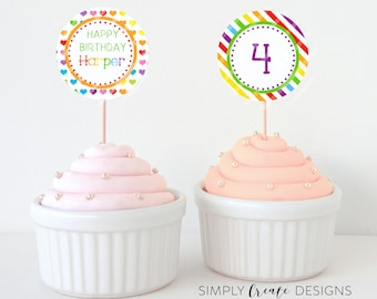 DIGITAL Rainbow Cupcake Toppers Printable File 8.5  x 11 JPEG File Personalized