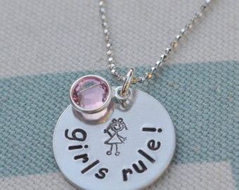 Girls Rule - Hand Stamped Necklace - Tweens - Young Girls - Girl Power - Pink - Personalized Gift - Birthday