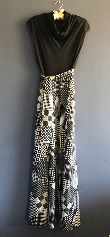 Vintage 60s Dress Black and White Patchwork Print… - image 5
