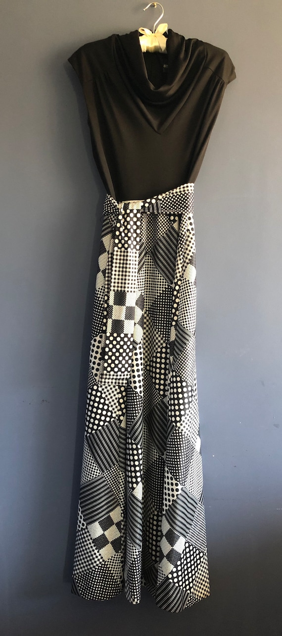 Vintage 60s Dress Black and White Patchwork Print… - image 6