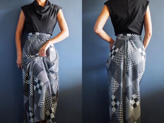 Vintage 60s Dress Black and White Patchwork Print… - image 1