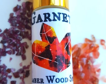 Garnet Amber Woods Oil Roll On Perfume Oil 10ml Infused with  Crystals